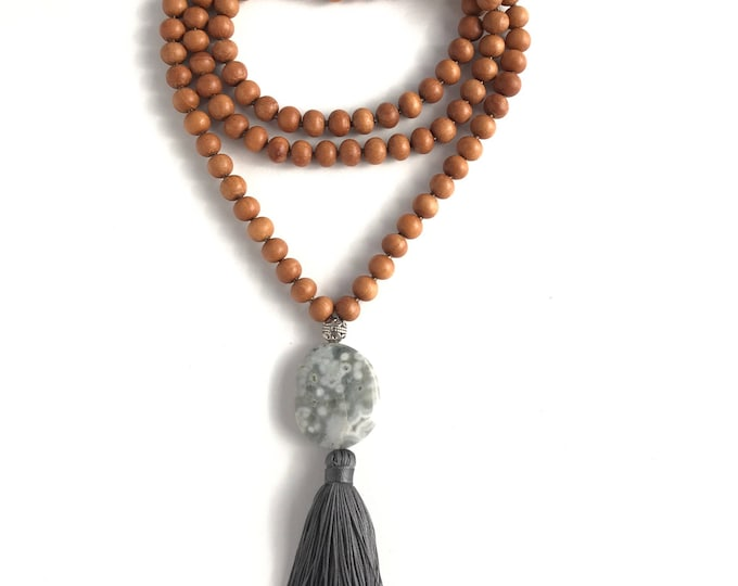 GRAY sandalwood mala necklace