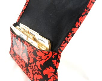 Ready to Ship, Coupon Organizer, Budget Management, Coupon Holder,  Red and Black Damask Fabric Red Lining