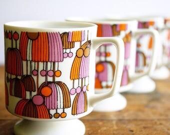 Vintage Mid Century Modern Mugs Coffee Cups Boho Hippie Era Pink and Orange Mod Design Footed Porcelain Made in Japan Set of 4