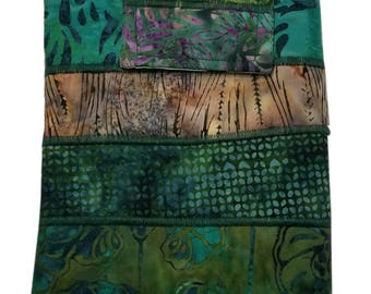 Nook or Kindle Fire Ipad Mini Sleeve in Green Batik Fabrics Back to School