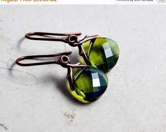 Summer Sale Swarovski Crystal Earrings, Dangle Earrings, Drop Earrings, Moss Green, Copper Earrings, Nature Jewelry, Woodland, Forest Green,