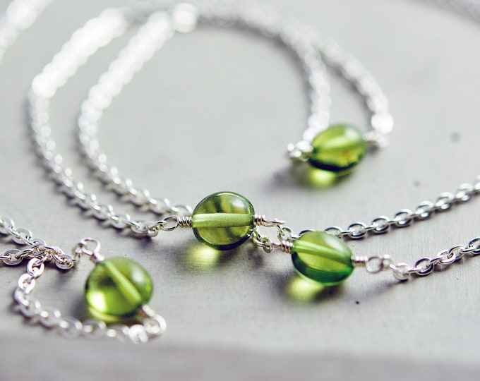 Peridot Necklace, Peridot Jewelry, Wire Wrapped, August Birthstone, Green Gemstone, Sterling Silver, PoleStar, Crystal Necklace,