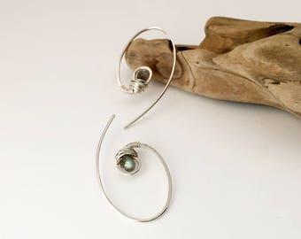 Silver Swirl Gemstone Earrings - Labradorite - E470SS-LA -handmade by cristysjewelry