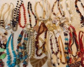 Lot 30 choker/short necklaces, vintage to modern, new/unworn/used, Monet Capri others beaded and or cording