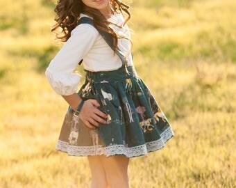 Girls Unicorn Suspender Skirt – Unicorn Skirt – Fall Boutique Skirt –  Lace Skirt- Suspender Skirt