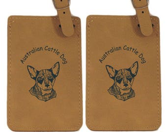 Australian Cattle Dog Pup Luggage Tag 2 Pack L1361