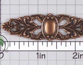 Bracelet Finding, Barrette Finding, Engraveable Blank, Barrette Stamping, Barrette Blank, Copper Ox Plated Brass, 2 Pcs, 1306co2