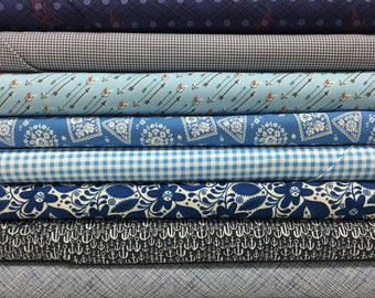 Quilt Sandwich's Color Pack - 10 Fat Quarters - Blue