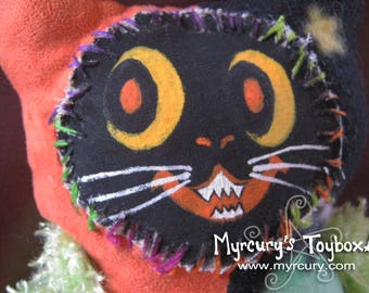 Myrcury's Misfits: Spooky the Patchwork Cat Unique Plush Ragdoll Type Toy with Hand Painted Canvas Face! Vintage Style Halloween Art!
