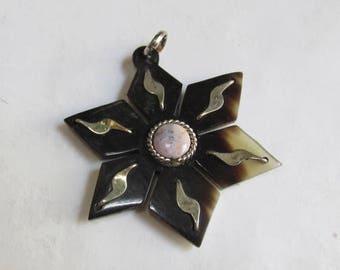 20% OFF SALE Star Silver Horn Pink Opal  Pendant Briolette Bead, Buffalo Horn Pendant , Handmade Six Pointed