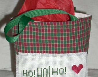 HO HO HO Gift Bag in Counted Cross Stitch
