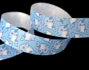 Narwahl Ribbon, Ocean Ribbon, Unicorn Ribbon, Sea Life Ribbon, Whale Ribbon, Mythical Ribbon, Unicorn of the Sea, Baby Shower Ribbon