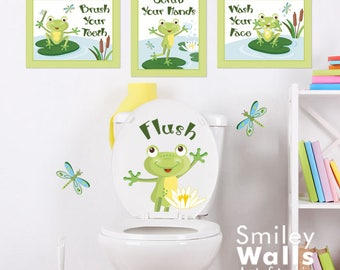 Kids Bathroom Wall Art frog wall art | etsy