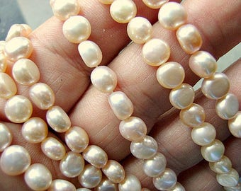 PEARLS, NATURAL, COIN, Peachy,Pink, 6-6-1/2mm, Domed, Lustre, Side Drill, 16 Inch,Sale, Not Dyed, High Quality,I