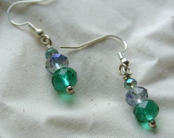 Crystal Green and Violet Dangle Earrings on Silver Hooks