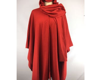 Vintage Mademoiselle Red Wool Cape Poncho w Scarf Hood
