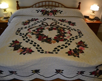 "Amish Handmade Quilted Country Love Quilt King 106"" x 119"""