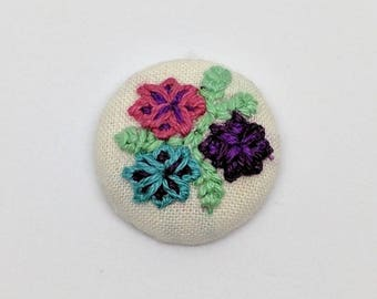 Floral Trio Button Embroidery Earrings Bouquet Flower Spring Summer Pink Purple Green
