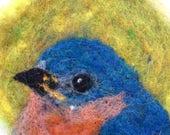 Needle Felted Wool Painting Ornament Medallion Bluebird Bird