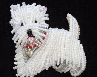 WESTIE LOVE pin beaded West Highland White Terrier dog pendant - Gift for Her (Made to Order)