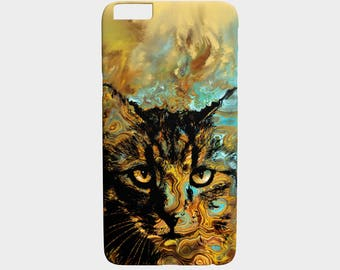 Cell Phone Case Cat 617 orange aqua - Iphone 7, 6/6s Plus, 5/5s, Samsung Galaxy S7, S6, Edge, S5, S4, S3 art by L.Dumas