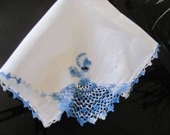 Vintage Crochet Hanky, Woman Crocheted on Hanky, Blue White