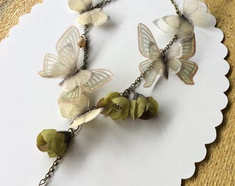 Handmade Necklace with Fabric Flower Buds, Vintage Glass Pearls and Cotton and Silk Organza Butterflies and Moths - One of a Kind