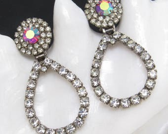 Vintage Long Rhinestone Hoop Earrings Hinged Red Jewelry E8014