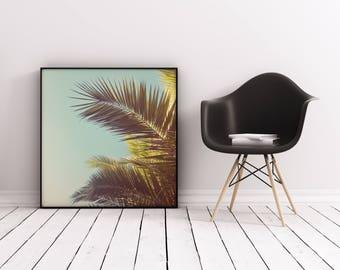 Palm Tree Wall Art, Tropical Art Print, Retro Wall Art - Autumn Palms