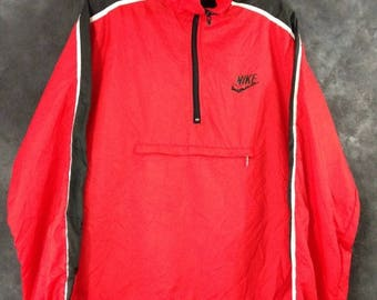 S a l e Vintage 1980's red and black Nike pullover windbreaker