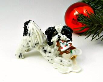 Havanese Black White Christmas Ornament Figurine Santa's Cookie Porcelain