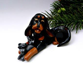 Black and Tan Coonhound Christmas Ornament Figurine Raccoon Porcelain