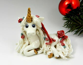 Unicorn Christmas Ornament Figurine Red Roses OOAK Porcelain