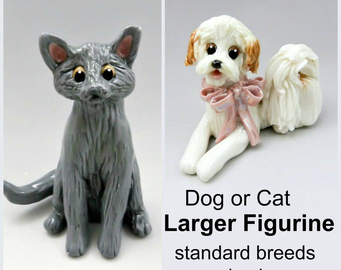 Featured listing image: Larger Dog Pet Cat Figurines in Porcelain Clay Standard Breed and colors