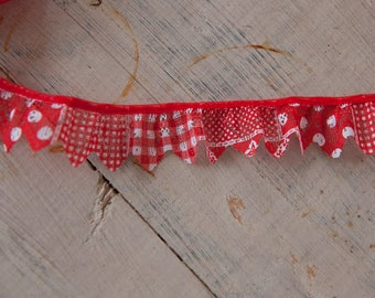 Red Lace Ruffle - 2 yards Vintage Fabric Trim New Old Stock Doll Making Gingham Polka Dots