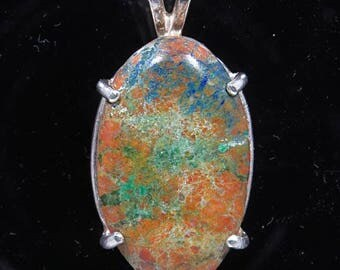 Chrysocolla and Azurite 15.57 ct / Sterling Pendant  / Sterling Chain /  Fast Free Shipping / Free Gift Box and Wrap
