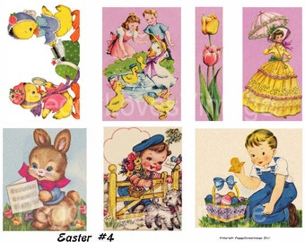 Easter 4 Digital Collage from Vintage Greeting Cards - Instant Download - Cut Outs