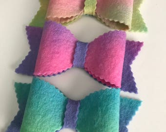 Wool Felt Bows, Pure Wool Felt, Big Felt Bows, Set of Three, Hand Dyed Wool, Doll Making, Hair Accessories, Hat Band, Home Decor, Gift Wrap