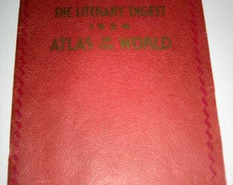 The Literary Digest 1934  Atlas of the World  - Maps for Altered Art. Collage, Scrapbooking, etc.