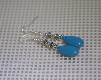 Glass Teardrop Earrings - MADE TO ORDER - Several Colors - Shown in Turquoise