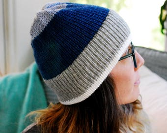 Machine Knit Hat // Color Block Pattern // Winter Accessory // Soft and Squishy