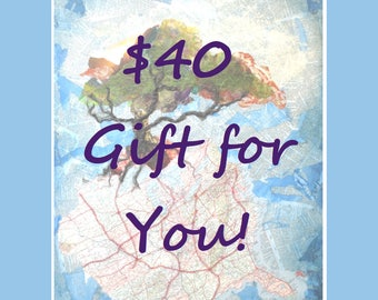 Gift Certificate for 40 Dollars USD to Life Needs Art, Custom Art, Classes, Gift Card, INSTANT DOWNLOAD, Printable Gift Certificate, Hudson