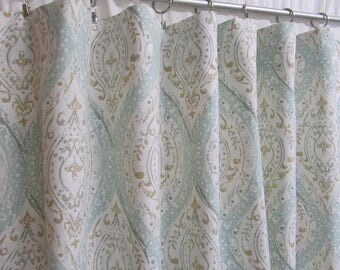Aqua/Teal Ogee Window Curtains, Ikat Medallion Curtains, Light Aqua Curtain  Panels,