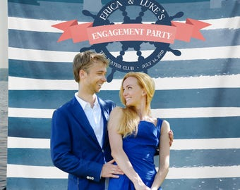 Nautical Engagement Backdrop, Nautical Bridal Shower, Nautical Wedding Backdrop, Nautical Engagement, Nautical Decor /W-A12-TP REG1 AA3