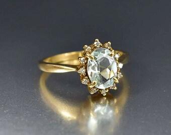 Diamond Halo Aquamarine Ring | 14K Gold Aquamarine Engagement Ring | Diamond Halo Engagement Ring | Vintage Engagement Diamond Aqua Ring