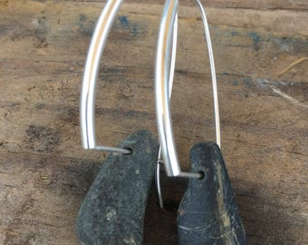 Totally Tubular Beach Stone Earrings, basalt, pebble, river rock, by the sea, beach stone jewelry, sterling silver dangle