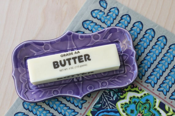 purple butter dish/ small tray