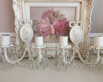 Vintage Shabby Chippy Metal Chic Wall Pair of Sconces - Lighting Decor - Crystal Prisms