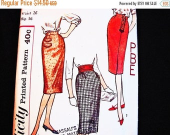 SALE 25% Off 1950s Skirt Pattern Vintage Simplicity Pattern Misses Waist 26 UNCUT One Yard Skirt Simple to Sew with Monogram Transfer