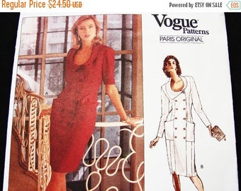 on SALE 25% Off 1980s Karl Lagerfeld Vogue Paris Original Pattern Womens Double Breasted Dress, Asymmetrical Collar Pattern Misses Size 12 1